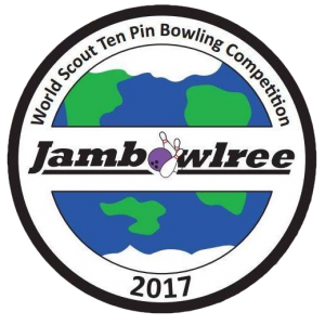 Jambowlree badge - showing a globe and the word Jambowlree, where the letter o has been replaced with a bowling ball hitting skittles
