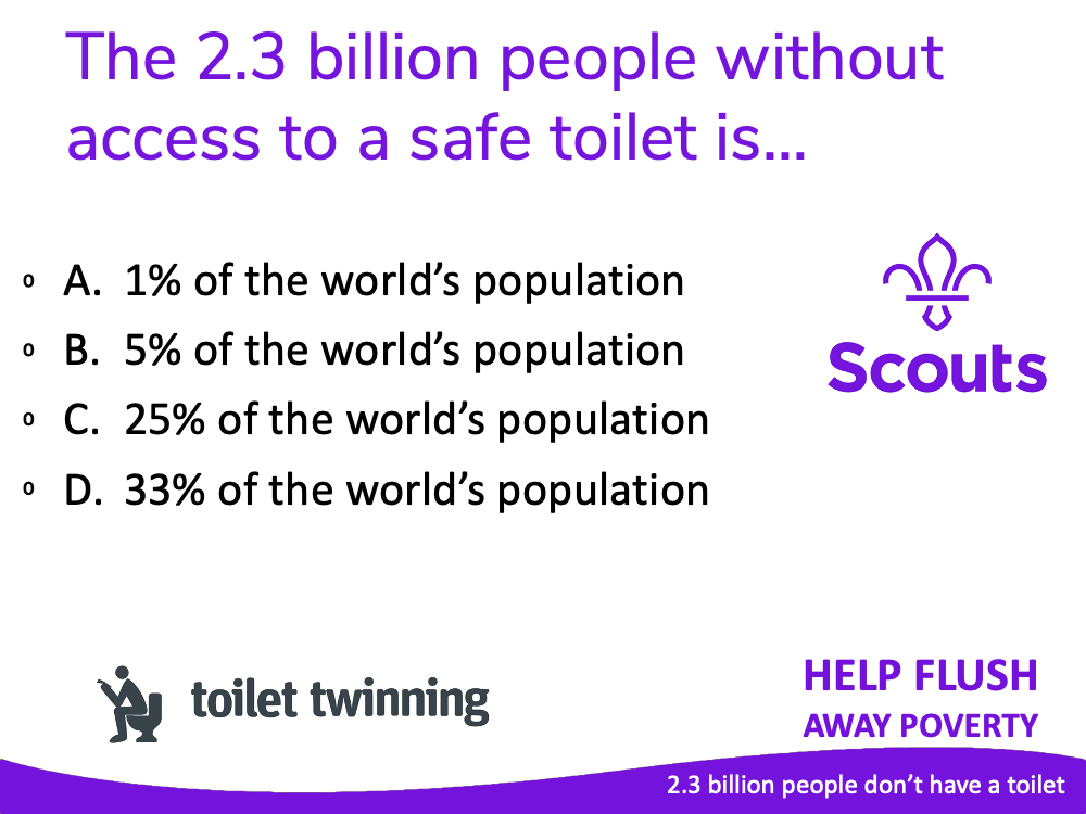 Page from a quiz about toilet twinning
