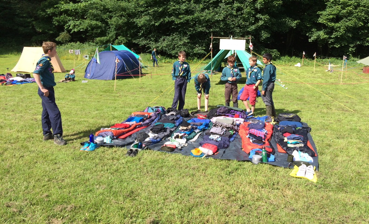 Scouts sorting their kit