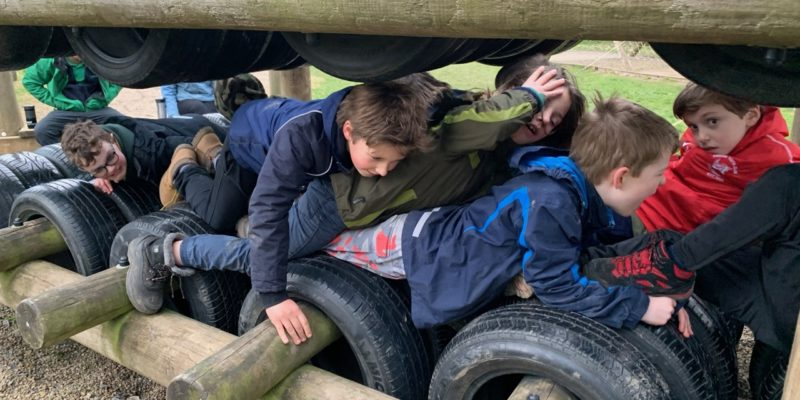 Squeezing through a frame of tyres