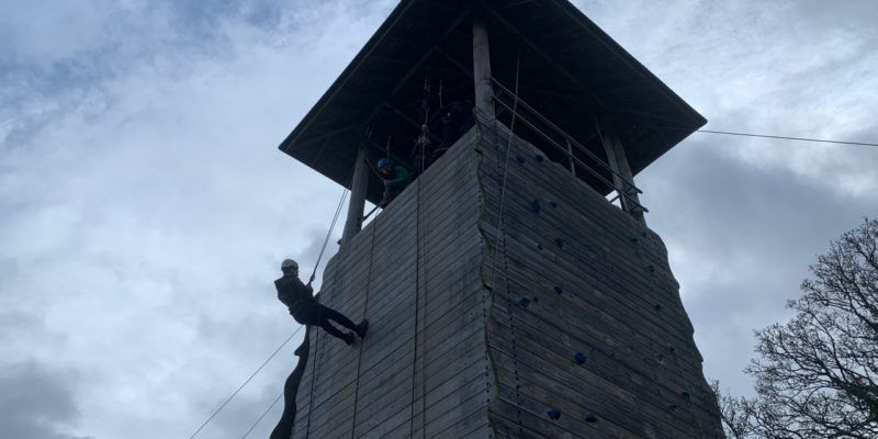 A Scout abseiling half way down the tower