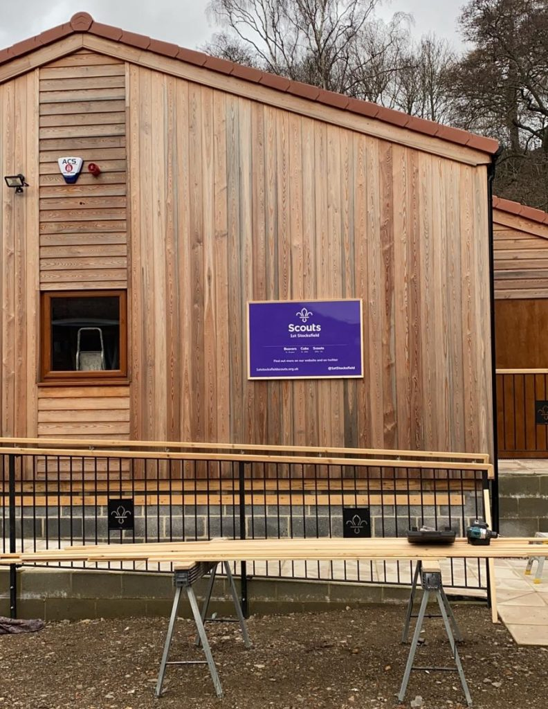 The hut now sporting a purple sign, declaring it to be a Scout Hut