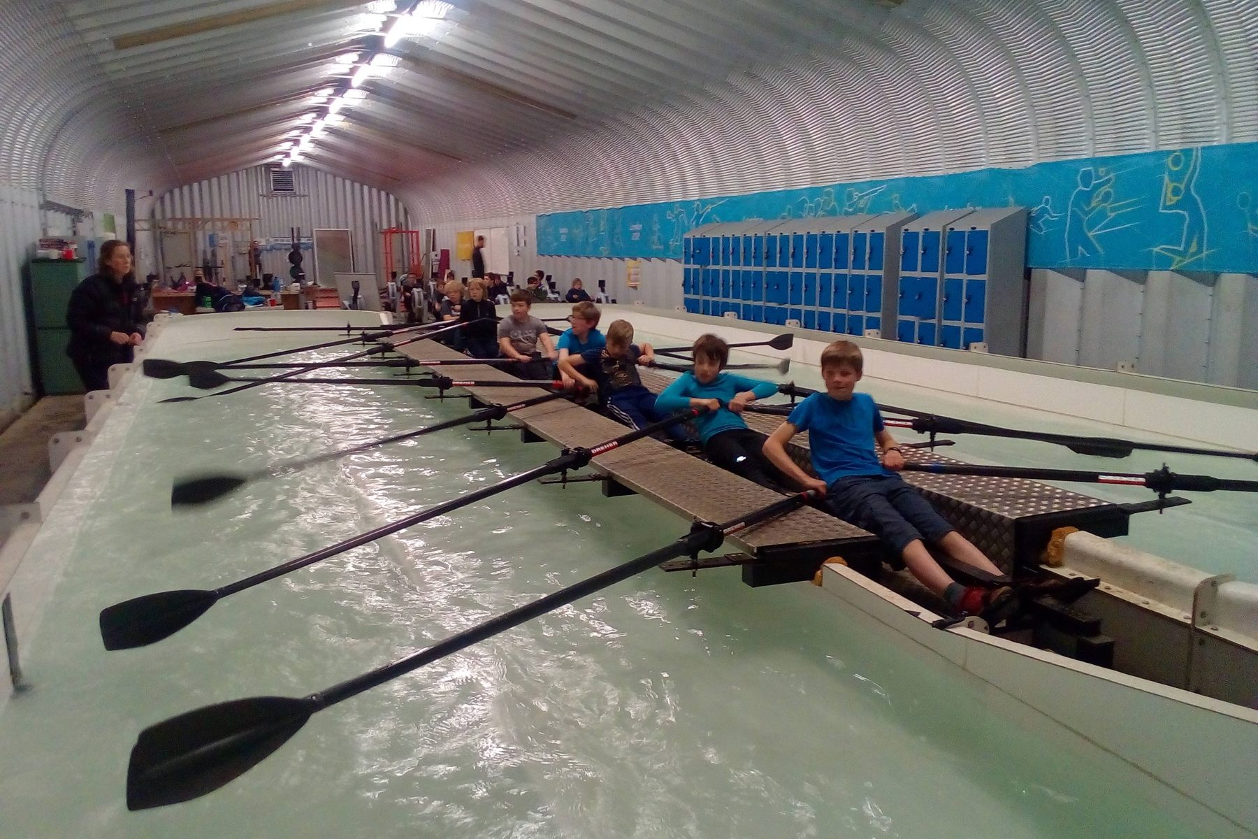 Inside the rowing tank